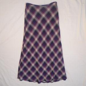 The Limited Maxi Skirt Vtg 90s Plaid Rayon Long